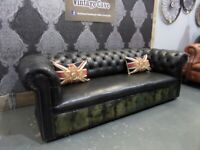 Fantastic Vintage Chesterfield 4 Seater Sofa in Black/Green Leather - Uk Delivery