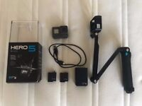 GoPro HERO 5 Black Edition + 3 batteries with charger + GoPro Stick