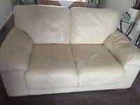 3 & 2 Seater Cream leather sofas