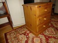 3 Drawer Solid Pine Bedside Chest of Drawers,(Dovetailed)