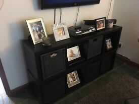Baskets and two black Ikea shelves £50