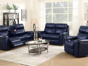 Blue Recliner Set with Nail heads (KA206)