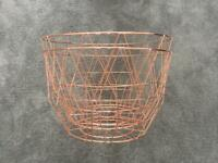 Set of 2 new Rose gold wire baskets