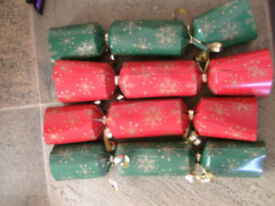 50 New Christmas Crackers. Red & Green with Gold with contents