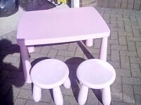 Pink ikea kids play table complete 2 stools