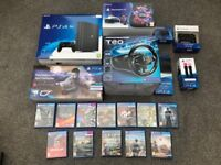 PS 4 Pro 1TB+VR Starter Pack+ThrustMaster Steering T80 Wheel+Steering Wheel Stand+12 Games+More