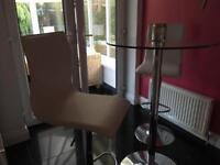 Glass bar table and bar stools