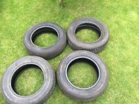 4 tyres. 2 nearly new. 2 part worn