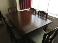 Beautiful Bespoke Dark Oak Dining Table and 6 Chairs - COLLECT from Bromsgrove, Worcestershire