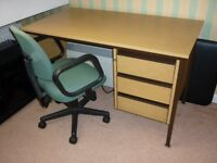 VERY STURDY HEAVY DESK, GREAT CONDITION. HARDLY USED. CHAIR NOT INCLUDED