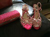 Pink diamanté shoes with matching handbag