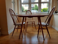Original Ercol Dropleaf Dining Table & 4 Quaker Windsor Chairs