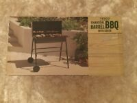 Tesco Charcoal Barrel Outdoor BBQ Grill With Cover BNIB