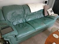 3 seater leather sofa and 2 single leather chairs