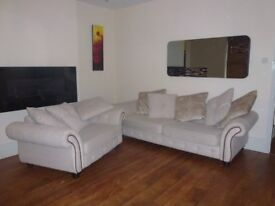 dfs bought sofa for sale, As new condition cream in colour studed outlay .solid timberframe.