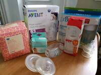Avent breast pump with lots of extras.