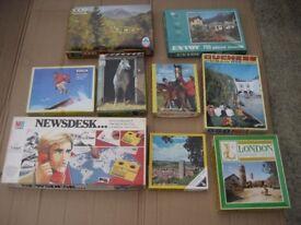 BOX OF JIGSAWS AND VINTAGE MB GAME MB NEWSDESK ASSORTED JIGSAWS