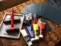 Linocut tools and materials