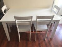 White oak dining table and x4 chairs