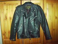 Traditional Leather Rocker Motorcycle Jacket- Vintage retro