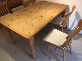 Pine Dining Table and four chairs.