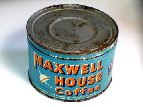 Vintage Maxwell House High Grade 1 Lb. Coffee Tin Can With Lid