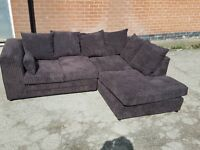 Fantastic 1 month old dark brown,chocolate corner sofa, corded design , tidy, delivery available