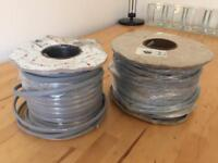 Two rolls of 3 core 2.5mm grey twin and earth cable. 6242 Y (80 and 47 meter)