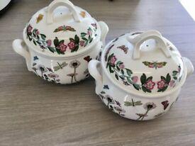 2 x PORTMERION China - Ovenproof - Casserole Dish - Ornament - Very Pretty