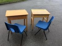 Schools desks with chairs