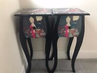 Pair of retro Marilyn Monroe print bedside tables