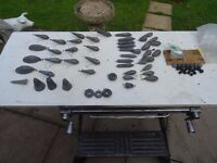 sea fishing - beach casting - lead weights and sinkers + bait cutting board