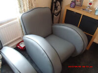3 piece suite vintage . newly recovered and would suit any room , Grey with black pipeing