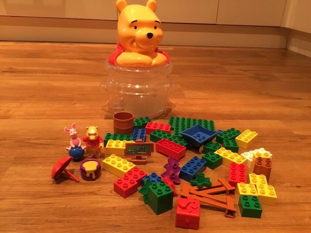 Winnie the Pooh duplo Lego in excellent condition, storage container in fair condition. Pre-loved