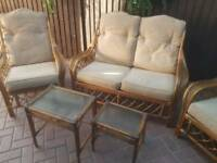 Cane 2 seater plus 2 single chairs