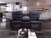 Reegal 3&2 Bonded Leather Recliner Sofa Set With Pull Down Drink Holder