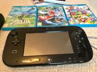 Nintendo Wii U 32GB black + Zelda BOTW, Mario kart 8, 3d world + accessories