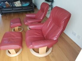 2 Lazyboy reclining chairs for sale with foot stalls