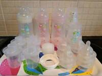 MAM baby bottles with size 2 and 3 teats and dispensers