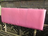 DOUBLE FAUX LEATHER PINK HEADBOARD.