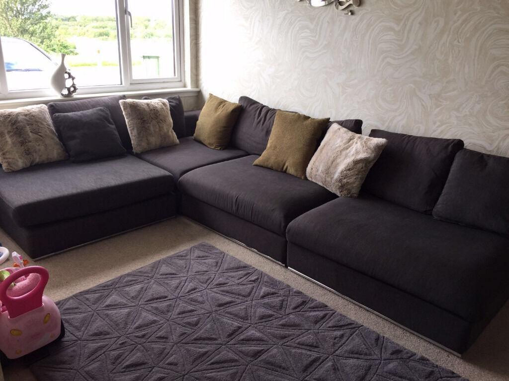 Corner Sofa Dwell Oban Modular Charcoal 4 Seater