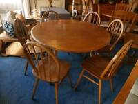Lovely ercol blonde drop leaf dinning table and 6 chairs