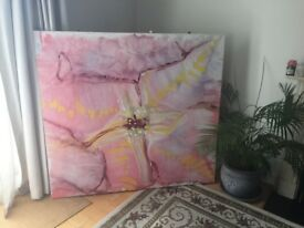 Large abstract flower painting on canvas. Excellent condition
