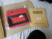 Brand new.. 10.1 case. Red and screen protector