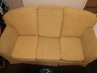 Fabric yellow sofa + two armchairs