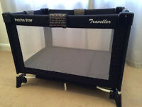 Petit Star Travel Cot (mint condition) and Brand new cot cover and many more
