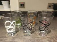 Set of six handmade glassware