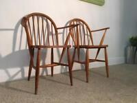 Vintage Retro Ercol Early Pair Carver Windsor Dining Bedroom Chairs Blonde Light CC41