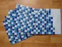 Blue glass mosaic tiles L300mm W300mm 4.5x tile sheets.