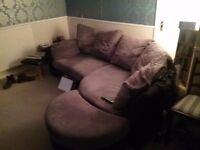 Corner sofa with pouffe free
